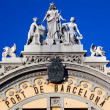 Stock Photo: Port Authority Building Statues BarcelonSpain