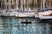 Rowing Boat Sailing Yachts Masts Barcelona Harbor Spain — Stockfoto
