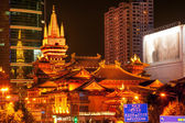 Golden Jing An Temple Park Nanjing Street Shanghai China at Nigh — Stock Photo