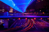 Blue Highway Street Traffic Red Night Light Trails Central Shang — Stock Photo