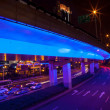 Stockfoto: Blue Highway Street Traffic Night Light Trails Central Shanghai