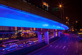 Blue Highway Street Traffic Night Light Trails Central Shanghai — Zdjęcie stockowe