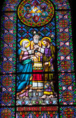 Stained Glass Mary Joseph Marriage Rabbi Monastery Montserrat — Stock Photo