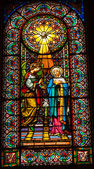 Stained Glass Angel Holy Spirit Mary Monastery Montserrat — Stock Photo