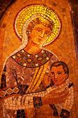 Madonna maria jesus mosaico monastero montserrat — Foto Stock