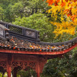 Stock Photo: ancient chinese house roof autumn leaves tree west lake hangzhou