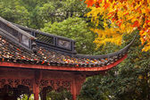Ancient Chinese House Roof Autumn Leaves Tree West Lake Hangzhou — Stock Photo
