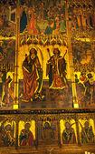 Ancient Golden Screen Gothic Catholic Barcelona Cathedral Basili — Stock Photo