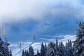 Ski School in the Fog Chairlifts at Snoqualme Pass Washington — Stock Photo