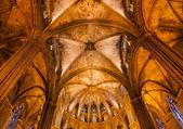 Stone Columns Arches Gothic Catholic Barcelona Cathedral Basilic — Stock Photo