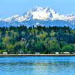Bainbridge island, puget sound Mont Olympe neige montagne olympi — Photo #24744085
