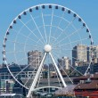 Ferris Wheel Buildings Waterfront Seattle Washington - Стоковая фотография