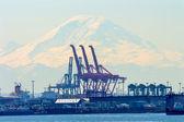 Puerto de seattle con grúas rojas y barcos con ranier mt en el bac — Foto de Stock