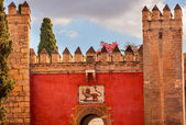 Red Front Gate Alcazar Royal Palace Seville Spain — Stock Photo