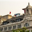 Three On the Bund Old Buildings Modern Buildings Bund Shanghai C — Stock Photo