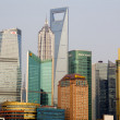 Pudong Skyline from Bund Shanghai China - Stock Photo