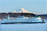 Car Ferry North Seattle Mount Rainier Puget Sound Snow Mountain — Stock Photo