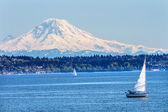Mount Rainier Puget Sound North Seattle Snow Mountain Washington — Stock Photo