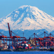 Seattle Port with Red Cranes and Boats with Mt Rainier in the ba — Stockfoto #27395329