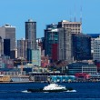 Seattle Skyline Tugboat Puget Sound Washington State — Stock Photo #27395365