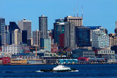 Seattle Skyline Tugboat Puget Sound Washington State — Stock Photo