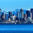 Seattle Skyline Puget Sound Cascade Mountains Washington — Stock Photo #28014085