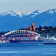 Seattle Washington Port Ferry Stadium with Cranes and Freighters — Stock Photo
