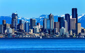 Seattle Skyline Puget Sound Cascade Mountains Washington — Stock Photo