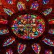 Gospel Writers Stained Glass Rose Window Cathedral of Saint Mary — Stock Photo