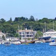 Stock Photo: Padnaram Harbor with Boats Schooner Piers Massachusetts