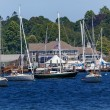 Stock Photo: Yacht Club Padnaram Harbor with Boats Docks Piers Massachusetts
