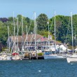 Stock Photo: Yacht Club Padnaram Harbor with Boats Piers Dartmouth Massachuse