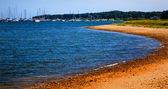 Padnaram Harbor with Boats Beach Dartmouth Massachusetts — Stock Photo