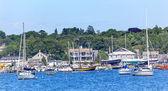 Padnaram Harbor with Boats Schooner Piers Massachusetts — Stock Photo