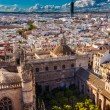 City View from Giralda Tower Seville Cathedral Garden Bull Ring — Stock Photo #31121703
