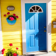 Floating Home Village Yellow Blue Door Houseboat Fisherman's Wha — Stock Photo