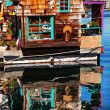 Floating Home Village Brown Houseboat Fisherman's Wharf Reflecti — Stock Photo