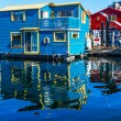 Floating Home Village Blue Red Houseboats Fisherman's Wharf Refl — Stock Photo #31490627