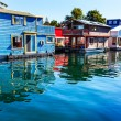 Floating Home Village Blue Red  Brown Houseboats Fisherman's Wha — Stock Photo