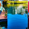 Floating Home Village Blue Red Houseboats Fisherman's Wharf Refl — Stock Photo