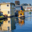 Floating Home Village Water Taxis Blue Houseboats Fisherman's Wh — Stock Photo