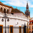 Bull Fight Ring Stadium Cityscape Giralda Spire Bell Tower, Sevi — Stock Photo