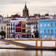 Saint Peter Church Cityscape River Guadalquivr Morning Seville A — Stock Photo #32837103