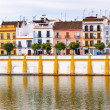 Houses Stores Restaurants Cityscape River Guadalquivr Morning Se — Stock Photo #32837155