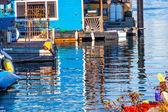 Floating Home Village Blue Houseboats Reflection Inner Harbor Vi — Stock Photo