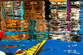 Floating Home Village Red Blue Kayaks Blue Reflection Houseboat — Stock Photo