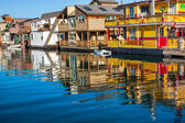Floating Home Village Yellow Brown Houseboats Fisherman's Wharf — Stock Photo