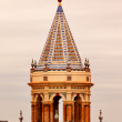 Ceramic Bell Tower Church Andalusia Seville Spain — Stock Photo