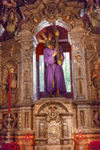 Basilica Jesus Statue With Cross Church of El Salvador Seville A — Stock Photo