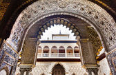 Courtyard of Maidens Arches Alcazar Royal Palace SevilleAndalusi — Stock Photo